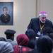 St Josephine Bakhita with the staff and pupils of St John Fisher Secondary School in Peterborough