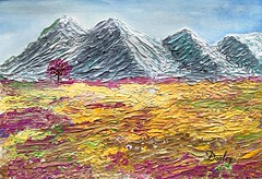 """""""Lone Tree in a Meadow"""" edith-dooley.pixels.com  Prints and more are available. (Edie54) Tags: acrylic palette knife painting meadow prairie pasture grassland plain acreage field garden bluff cliff elevation peak ridge aqua pinks yellows colorful range cherry blossom tree lone single haven natural environment ranch soothing restful peaceful calming beauty happy meditate property standstill serene snowcap snow snowy"""