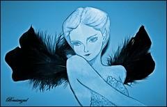 Angel with black wings (bruixazul poc a poc...) Tags: dibujo silueta plumas alas ángel prismadecolores azul