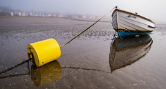 Clearing Mist (daveknight1946) Tags: essex thorpebay southend riverthames sea mud buoy yellowbuoy yellow rope chain merlin dingy boat boatmerlin reflection fuji xt3 fujixt3 greatphotographers