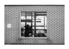 A Suburban Road Trip  © (wpnewington) Tags: fp4 ilfordfp4 ilfordfilm olympusom2n filmphotography suburban suburbia om2n olympus film analogue analog bw window gateway brick