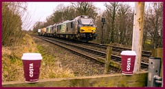 Coffee Break .... or pre-arranged litter! (peterdouglas1) Tags: valleyflasks directrailservices 6k41 class88 88006 juno 88004 pandora northwalescoastrailway costa