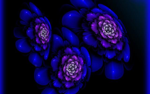 Обои фрактал, темный, синий, пятна картинки на рабочий стол, фото скачать бесплатно