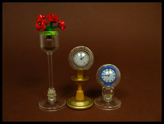 One of these is not like the other two... (Karf Oohlu) Tags: lego moc clock flower vase flowervase carriageclock sphere stand