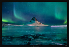Lights to the Sky (Ilan Shacham) Tags: landscape view scenic beauty nature aurora northernlights green lake mountain frozen ice kirkjufell snaefellsnes iceland fineart fineartphotography night sky