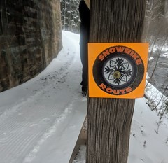 Snowbike trail (yooperann) Tags: winter january marquette upper peninsula michigan hiking biking ski trail groomed signs river