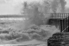 A shower of spray (Cassiezee) Tags: waves spray surf sea ocean storm harbour wall jetty black white