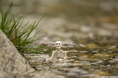 Bathing in a lost work is it something cool?! (EatMyBones) Tags: figurine mercantour miniature nature poseskeleton rement skeleton snow toy toyphotography