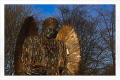 knife angel at sundown (Mallybee) Tags: knife angel hull statue art street crime anti mallybee fuji fujifilm xt100 50mm f2 fujinon prime sundown apsc bayer xmount