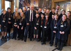 Welcoming Aberlady pupils to Holyrood