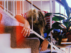 Day 095 (H o l l y.) Tags: iphone digital self portrait girl stairs desperate depressed light leak retro indie vintage plant home inside domestic i feel like writing this could just say ditto my life is loop in evening did some night swimming