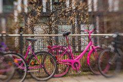 Painted Pink - HFF! (suzanne~) Tags: bike fence munich germany bavaria pink sol45 lensbaby