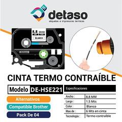Pack 4 cinta Hse221 8,8MM tubo Termocontraible (Detaso) Tags: chile brother cinta etiqueta rotuladora termocontraible cable tubo hse221 88mm