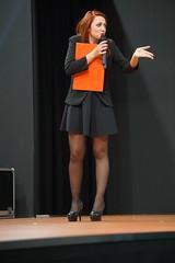 Cartoomics (themax2) Tags: 2019 announcer cartoomics cosplay event girl high heels milano miniskirt nylon pantyhose redhead rho show tights highheels lrhs