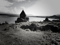 Monastery Sevanavanq | Armenia (maryduniants) Tags: landscape lake sevanlake apostolicchurch monastery church holy armenia architecture sevanavanq sevan blackandwhite