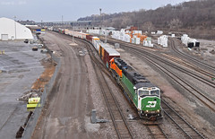 Southbound Transfer in Kansas City, MO (Grant G.) Tags: bnsf railway railroad bn burlington northern emd power kansas city missouri transfer freight south southbound yard job
