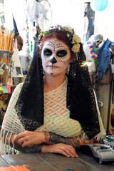 Ready to add it up (radargeek) Tags: badgrannysbazaar dayofthedead 2018 october plazadistrict okc oklahomacity facepaint tattoo catrina portrait skeleton