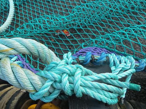 Au port, cordages et filets, Ullapool, Ross and Cromarty, Ecosse, Grande-Bretagne, Royaume-Uni.