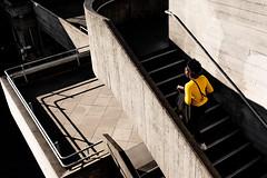A Splash Of Yellow (Sean Batten) Tags: london england unitedkingdom gb europe city urban buidling southbank steps stairs person yellow fuji x100f fujifilm walking light shadow