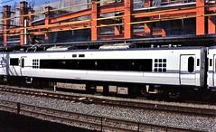 Japan Rail power-coach at Kyoto in the mid-1990s (Tangled Bank) Tags: jr japan rail japanese asia asian urban train station pasenger equipment stock kyoto 1990s 90s railway railroad