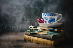 Untitled.... (Janet_Broughton) Tags: lensbaby sol45 stilllife books oldbooks teacup textured