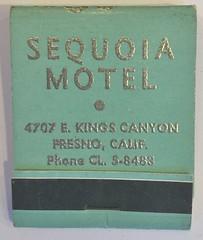 SEQUOIA MOTEL FRESNO CALIF (ussiwojima) Tags: sequoiamotel motel fresno california advertising matchbook matchcover
