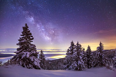 Milky Way Over Tête-de-Ran (Rogg4n) Tags: switzerland night nightphotography nightscape astro star dawn landscape panorama swiss suisse hills jura mountain snow winter wonderland snowy hiver sigma canon stars astrophotography sky sykscape nature tree longexposure silhouette galaxy milkyway voielactée milky way canoneos5dmarkiii ef1635mmf4lisusm