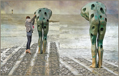 """Tommorow man made by the sea"" Catherine François, sur la plage de Knokke, Belgium (claude lina) Tags: claudelina belgium belgique belgië knokke noordzee merdunord plage beach tommorowmanmadebythesea catherinefrançois oeuvre art sculpture"