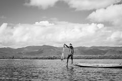 Fisherman (Laszlo Horvath.) Tags: nikond7100 sigma1835mmf18art myanmar burma inlelake monochrome bkackandwhite bw fisherman boat lake water clouds
