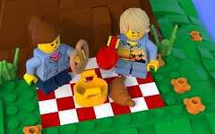 October Picnic (LegoLyman) Tags: lego build legolyman legoideas october picnic minifigs food apple basket pretzel croissant tree oak grass