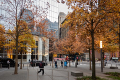 Reflections and Trees (Jocey K) Tags: sonydscrx100m6 triptocanadaandnewyork architecture buildings sky clouds reflections 911memorialplaza trees autumn autumncolour whiteoaktrees people evening newyorkcity