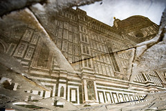 shards of infinity (-dubliner-) Tags: puddle water reflection duomo firenze santamariadelfiore pavement stone cathedral church