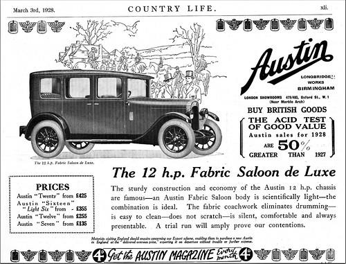 1928 Austin Twelve Fabric Saloon de Luxe
