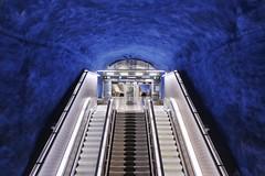 T-Centralen (Douguerreotype) Tags: sverige blue steps tube symmetry tunnel underground urban sweden stockholm tbana city escalator architecture stairs metro tunnelbana subway station