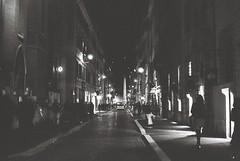 Roma (goodfella2459) Tags: nikonf4 afnikkor50mmf14dlens kodaktrix400 35mm blackandwhite film analog night city streets roma italy rome road buildings bwfp manilovefilm