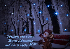 Wishing you all a very Merry Christmas and a Happy and Healthy 2019 (Through_Urizen) Tags: christmas eskisehir events winterscene card greetings season seasonal winter cold snow snowman bench stars lightstars composite blue