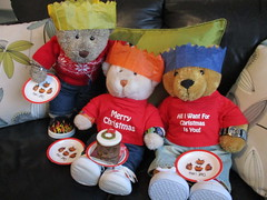Stuff-yer-face-wiv-cake-time! (pefkosmad) Tags: tedricstudmuffin nobbynomates gingernutt ted nobby ginger teddy bear animal toy cute cuddly fluffy plush soft stuffed christmas festival winter winterval play december paperhats cake food boxingday