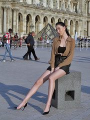 A model with the longest legs I've ever seen (pivapao's citylife flavors) Tags: paris france girl beauties louvre fashion architecture