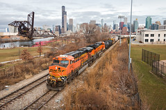 Wrong Track at the Right Spot (Wheelnrail) Tags: cn canadian national freeport subdivision bnsf burlington northern santa fe railway train trains chicago 312 skyline urban city downtown 18th street sears tower saint charles air line m337 freight manifest ge es44ac