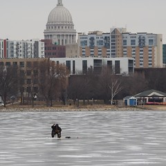 the cold and lonely life of an ice fisherman (humbletree) Tags: winter madison wisconsin icefishing mononabay