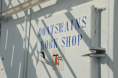 Boatswains workshop (Webkrab) Tags: ifttt 500px irish ferries oscar wild ferry boat marine ship shipping celtic sea nautic workshop boatswains sign day sunny
