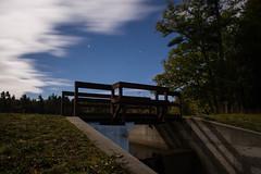 Moon Light Bridge (Northern Wolf Photography) Tags: 12mm bridge clouds em5 forest gilson grass moon night pond stars trees woods jaffrey newhampshire unitedstates us