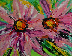 """Double Pinks"" - Up Close (BKHagar *Kim*) Tags: bkhagar art artwork painting paint acrylic pink flower flowers floral double two doublepinks canvas"