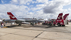 """McDonnell Douglas F/A-18C Hornet of Marine Fighter Attack Squadron 232 (VMFA-232) """"Red Devils"""" and Squadron Fire Engine from MCAS Miramar (Norman Graf) Tags: fa18 usmc fa18c airplane mag11 airshow vehicle boeing 165186 2017mcasmiramarairshow fireengine military truck vmfa232 cagbird aircraft 3rdmaw marineaviation reddevils 3rdmarineaircraftwing attack carrierairgroup f18 f18c fighter hornet jet mcasmiramar marineaircraftgroup11 marinefighterattacksquadron232 marines mcdonnelldouglas plane unitedstatesmarinecorps wt01"""