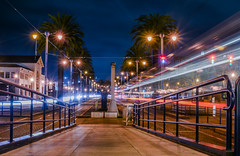 brannan platform (pbo31) Tags: bayarea california nikon d810 color night dark february 2019 city urban boury pbo31 black sanfrancisco rain wet embarcadero southbeach lightstream motion traffic roadway infinity muni blur streetcar station platform transit