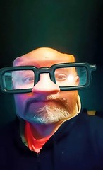 Selfie Abuse, Lol (PhotoJester40) Tags: indoors selfieofself memyselfandi me male manly beard glasses comical funny humourous fbfilter bald masked bignosed amdphotographer graybeard selfportrait inside