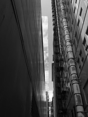 Alley, Looking Up (Nick Condon) Tags: architecture blackandwhite building chicago glass olympus918mm olympusem10 absoluteblackandwhite olympus