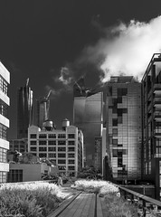 A Walk Along the Highline (allentimothy1947) Tags: highline manhattan newyorkstate architecture buildings clouds cloudy hudson newyorkcity people reflections streets walk skyline cityscape blackandwhite bw walker