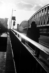 (Eric Jan Zen) Tags: paris street bridge pont gare boulevard sun hat walker lonely