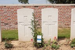 Graves of Sargeant G Lee and Corporal R F Lee father and son killed on the same day in the same action during the Battle of the Somme WW1. Dartmoor Cemetery Becordel Becourt near Albert Somme Valley France (davidseall) Tags: serjeant sargeant george lee corproal robert frederick grave graves father son ww1 world war one 1st great british army becordel becourt becordelbecourt albert france dartmoor cemetery cemetary battle somme casualty casualties